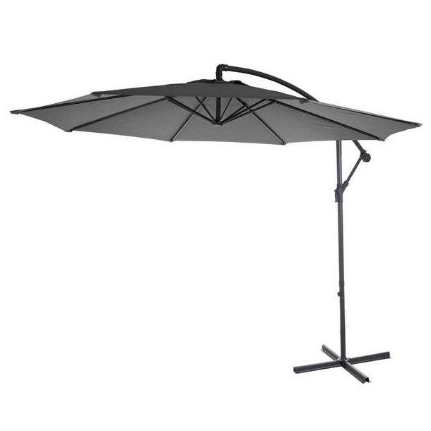 Hængeparasol Ø3 meter - Ø300 cm antracit vipbar parasol med krydsfod