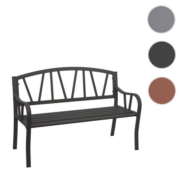 Havebænk - parkbænk og parkbænk i pulverlakeret stål ~ sort