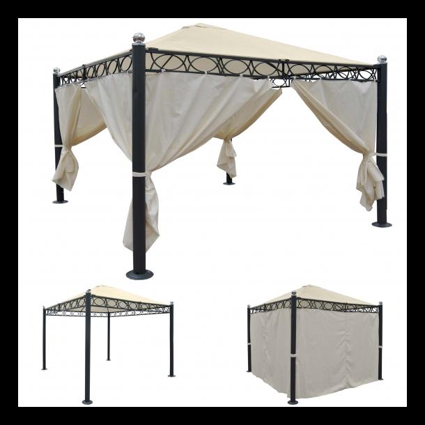 Havepavillon 3x3m - beige pavillon med myggenet og sidestof