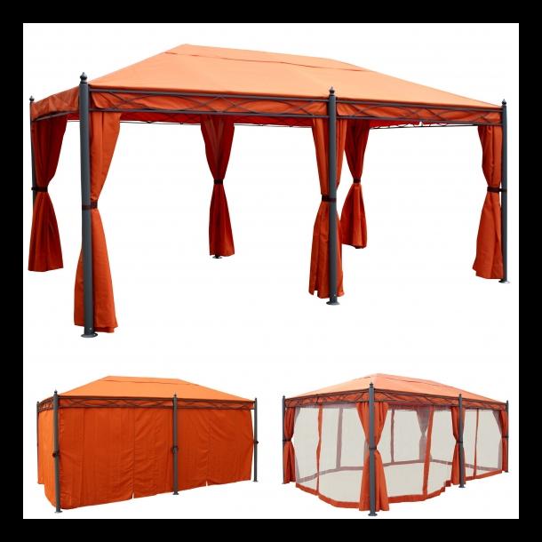 Havepavillon 5x3m - terracotta pavillon med sidestof og myggenet