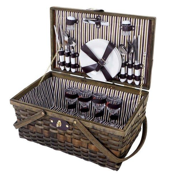 Picnickurv til 4 personer - picnic sæt i flet