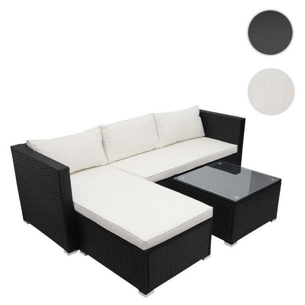 Loungesæt - sorte polyrattan siddegruppe med creme hvide hynder