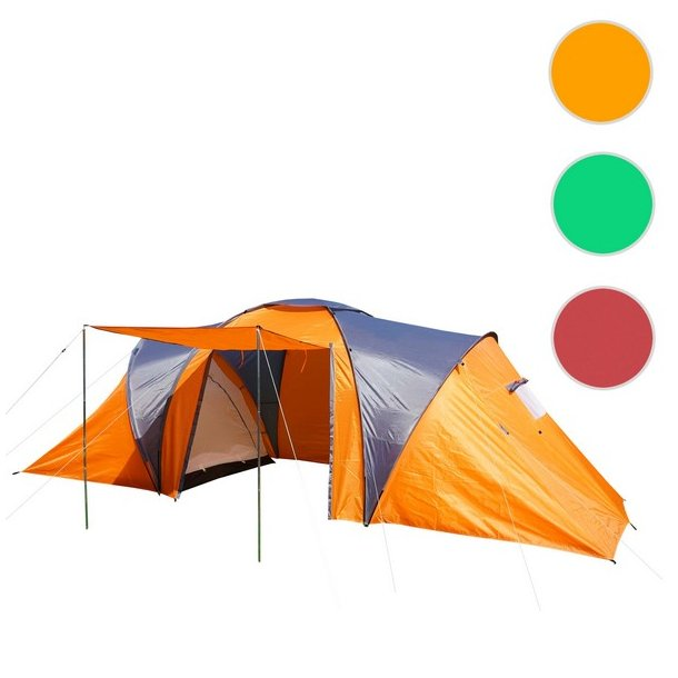 Campingtelt - 6 personers tunneltelt til camping - orange telt