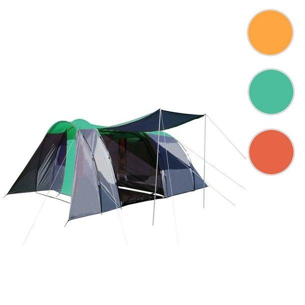 Campingtelt - 6 personers tunneltelt til camping - delbart grønt telt