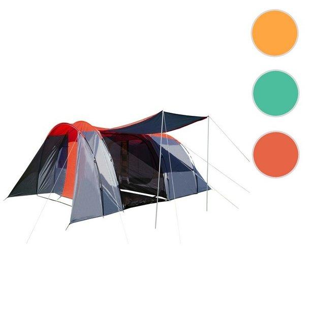 Campingtelt - 6 personers tunneltelt til camping - delbart rødt telt